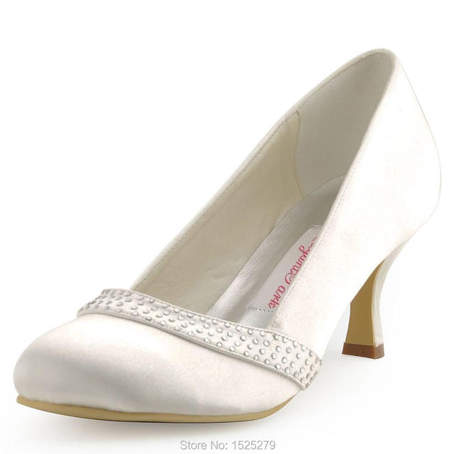 A0718 White Blue Ivory Women Shoes Wedding Bridal Closed Toe Med Heels  Rhinestone Satin Evening Bridal Party Pumps Navy Purple 7e83f4ce861e