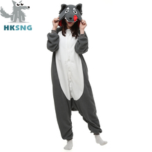 HKSNG Neue Erwachsene Tier Kigurumi Wolf Onesies Pyjamas Cartoon Fleece Cosplay Partei Kostüme Overalls Weihnachten Geschenk Kigu