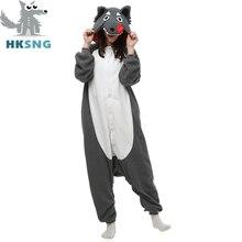 HKSNG New Adult Animal Kigurumi Wolf Onesies Pajamas Cartoon Fleece Cosplay Party Costumes Jumpsuits Christmas Gift Kigu