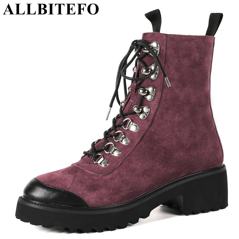 ALLBITEFO fashion brand Nubuck leather thick heel women boots winter snow boots high heels ankle boots women size:34-43 allbitefo over the knee boots nubuck leather medium heel women boots 4 colors winter boots thick heel snow boots size 33 43