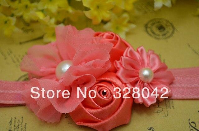Trail order pearl centre girl pink satin rose chiffon flower FOE Shimmery Headbands satin ribbon flower headbands 20pcs/lot