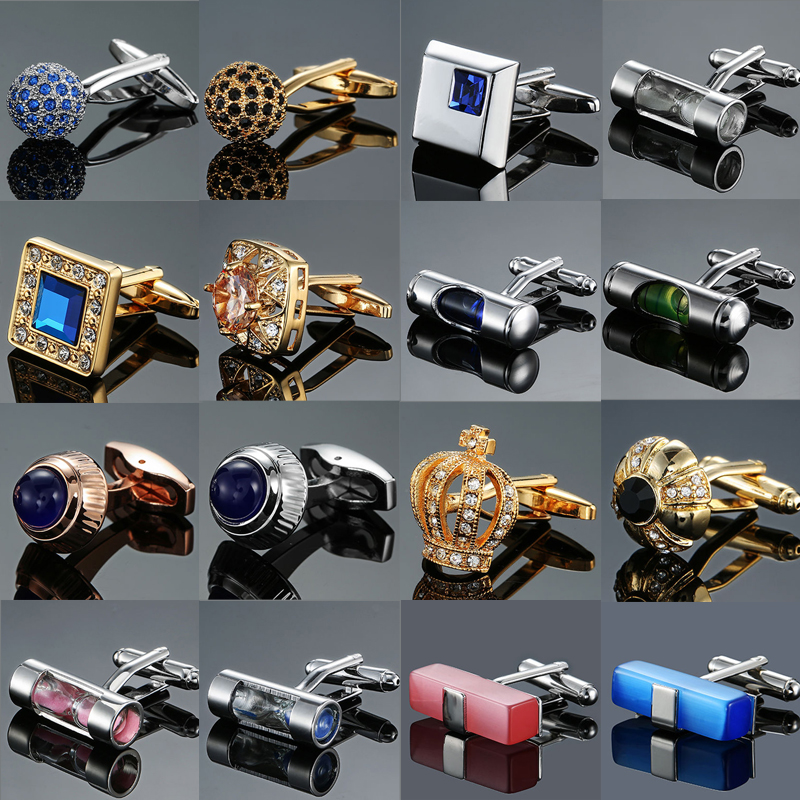 Premium Brand Design Austria Crystal An Crown Men's French Shirt Cufflinks Level Time Hourglass CuffLinks Wholesale