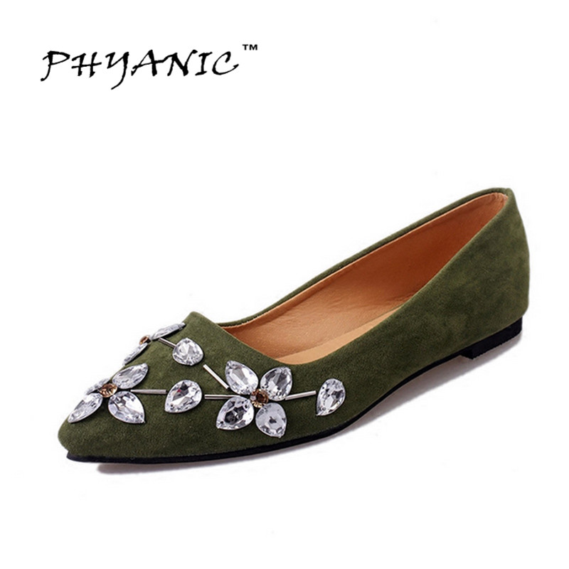 PHYANICE 2017 Spring New Crystal Loafers Pointed Toe Suede Ballet Flats Casual Shoes Woman Slip On New Women Flat Shoes PHY3209 xiaying smile woman flats women brogue shoes loafers spring summer casual slip on round toe rubber new black white women shoes