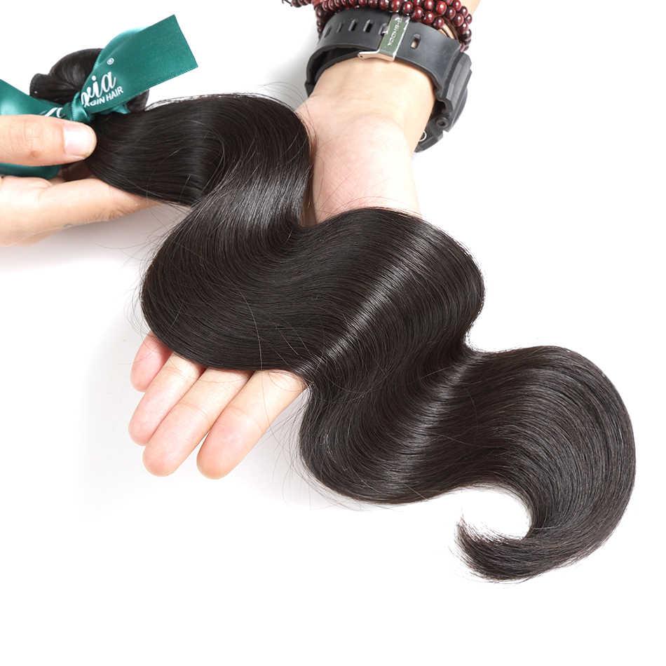 ILARIA cabello brasileño pelo de la onda del cuerpo del pelo de la virgen 4 unids/lote sin procesar de la armadura del pelo humano paquetes de Color Natural suave y cómodo