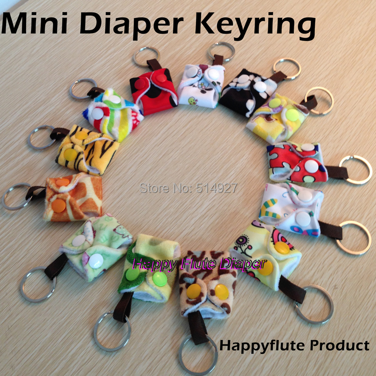 Happy flute mini diaper keyring mini cute diaper with a metal ring promotion gift for customers