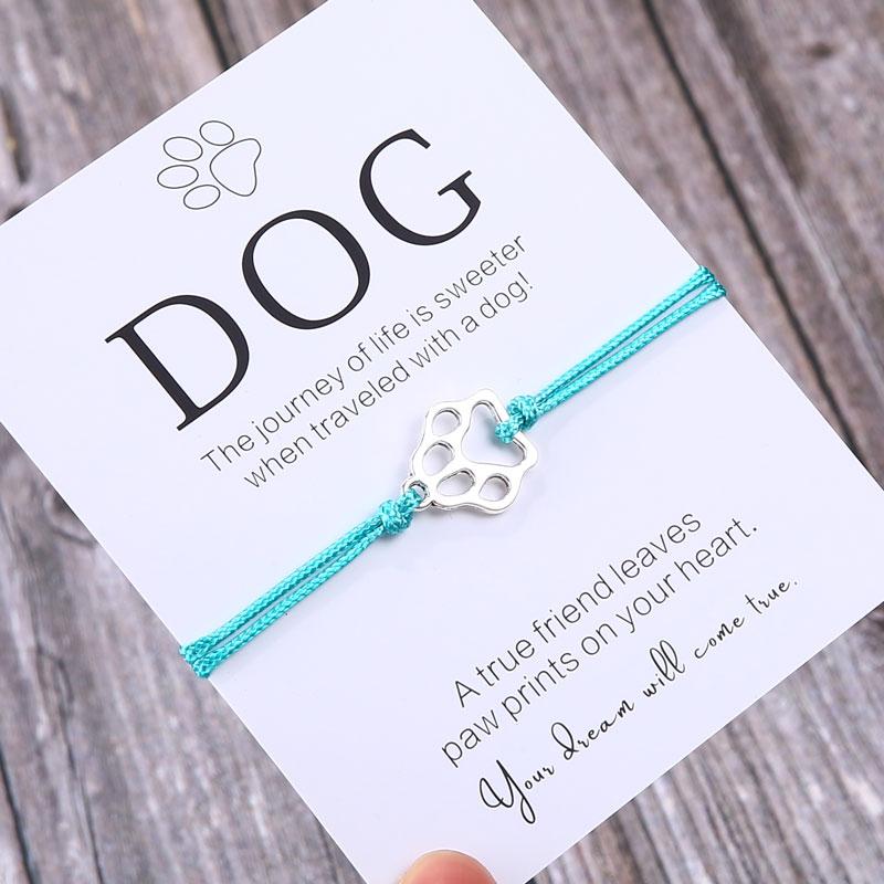 Подарочный браслет для него, браслет с принтом лап, подарок для любимого собаки, Ювелирное Украшение с надписью Dog Lover, браслет желаний, подар...