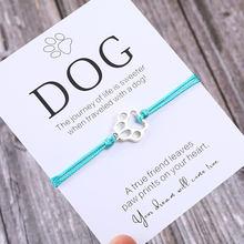 Pulseira de amizade para ele, bracelete de presente para ele pata e cachorro, presente para amante pai pai