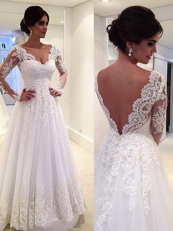 Elegant Long Sleeve Wedding Dresses V-Neck Lace Gowns A-Line White Floor Length Bridal Dresses 2019