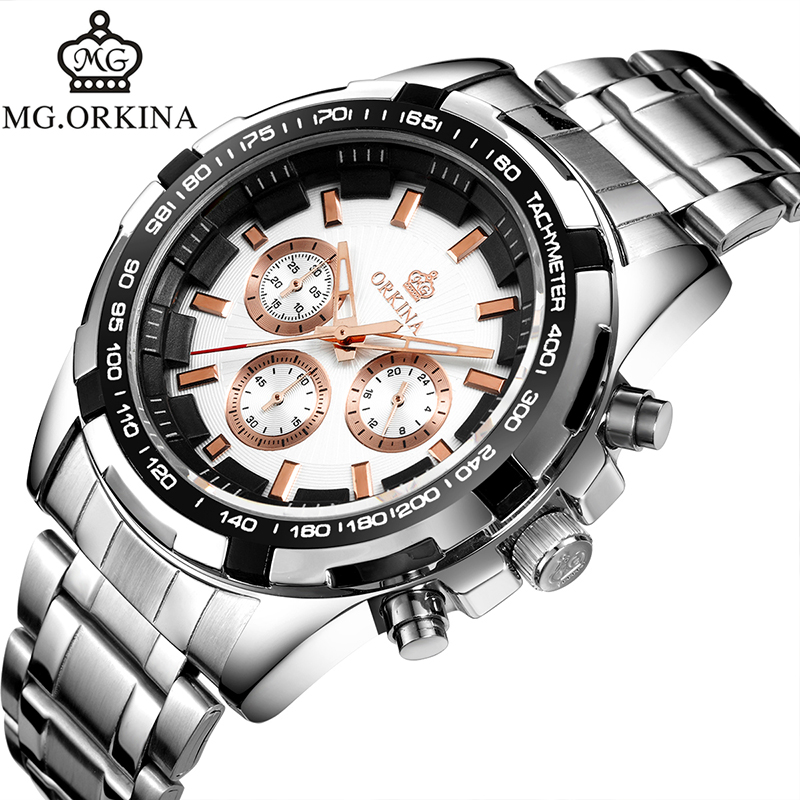 MG. ORKINA Mens Watches Japan Movement Quartz Stainless Steel Case Back Waterproof Male Wristwatch Chronograph Sport Watch mg orkina fashion casual mens watches red dial luminous hands japan movt auto date waterproof male quartz wristwatche