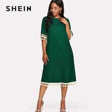 5bef9f70efedabc Шеин блесток и бахромой поясом платье 2018 Лето круглый шеи Половина рукава  по колено платье Для женщин зеленый Повседневное поя.