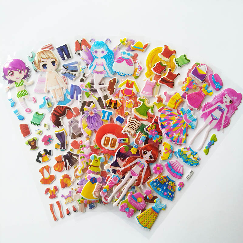 6 Pcs Cartoon Dress Up Stickers 3D Stickers Kids Children Girls Boys PVC Stickers Bubble Stickers Toy For Children Gift DIY