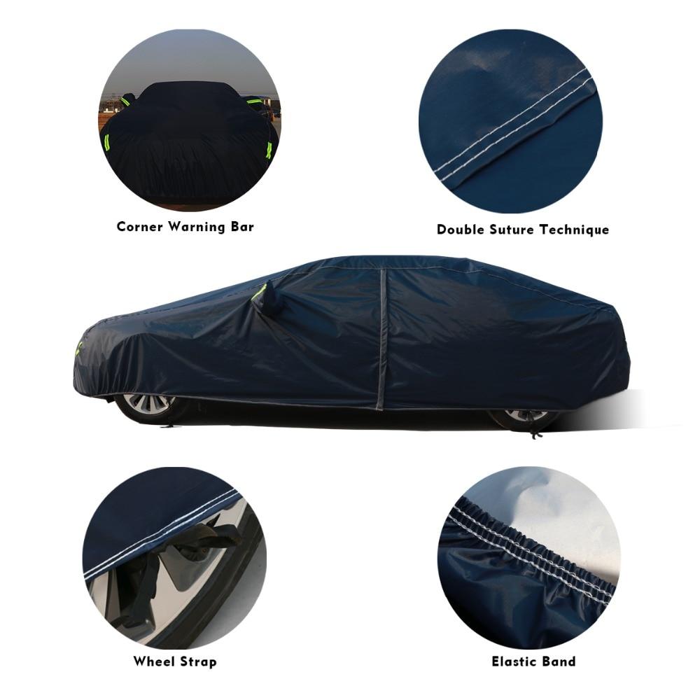 9 taille imperméable bâches de voiture couverture de protection solaire extérieure pour voiture réflecteur poussière pluie neige protection suv berline hayon complet - 3