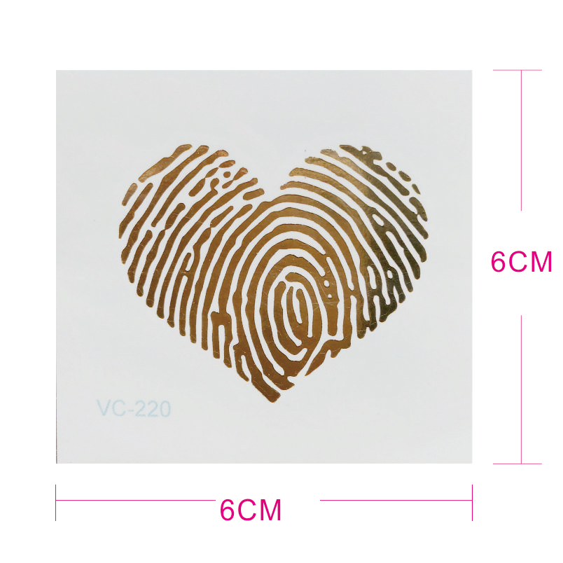 Mt05 3 Unidspack Huella Digital Corazón Hoja De Oro Tatuaje