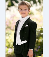 New Arrival Boy Tuxedos Notch Lapel Children Suit Black Kid/Ring Wedding/Prom Suits ( Jacket+Vest+Pants+Bow Tie +Shirt ) NH1