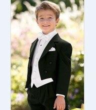 New Arrival Boy Tuxedos Notch Lapel Children Suit Black Kid/Ring Wedding/Prom Suits ( Jacket+Vest+Pants+Bow Tie +Shirt ) NH1