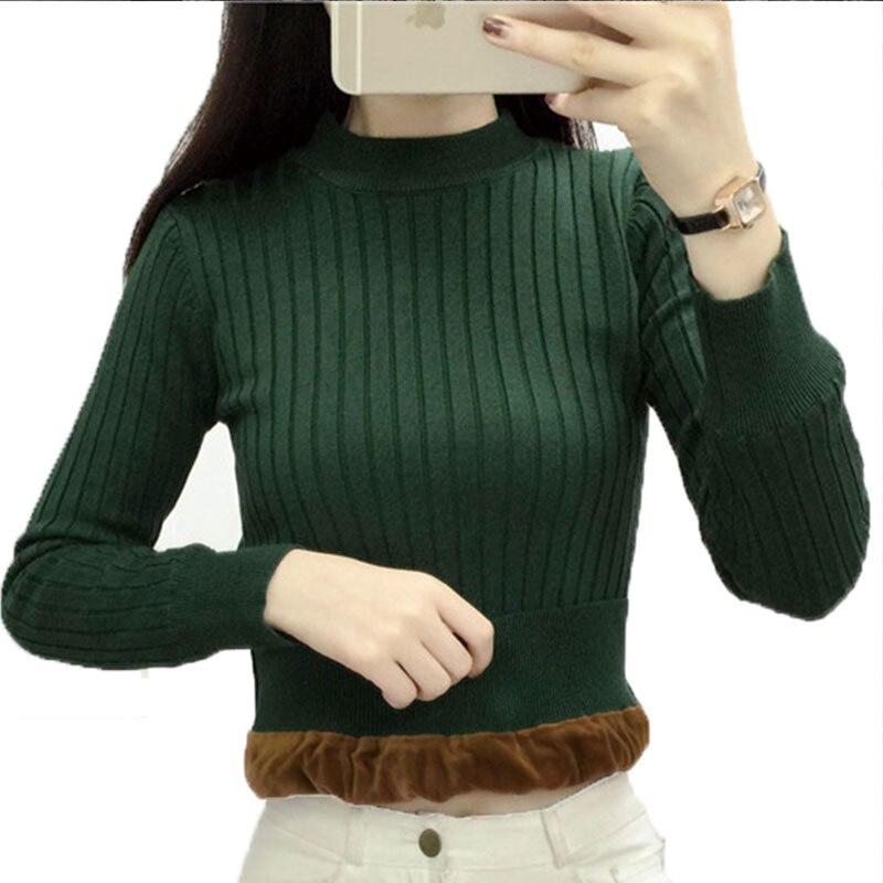 2018 Winter The New plus Thick Women Knit Sweater Velvet Lining Warm Short Wild Paragraph Slim Pullover Female Christmas LJ057