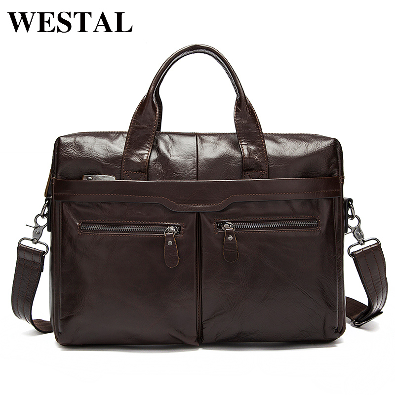 WESTAL Mens Bag Genuine Leather Men Laptop Shoulder Bag Mens Crossbody Bags Male Messenger Bag Men Leather Briefcases Men Tote