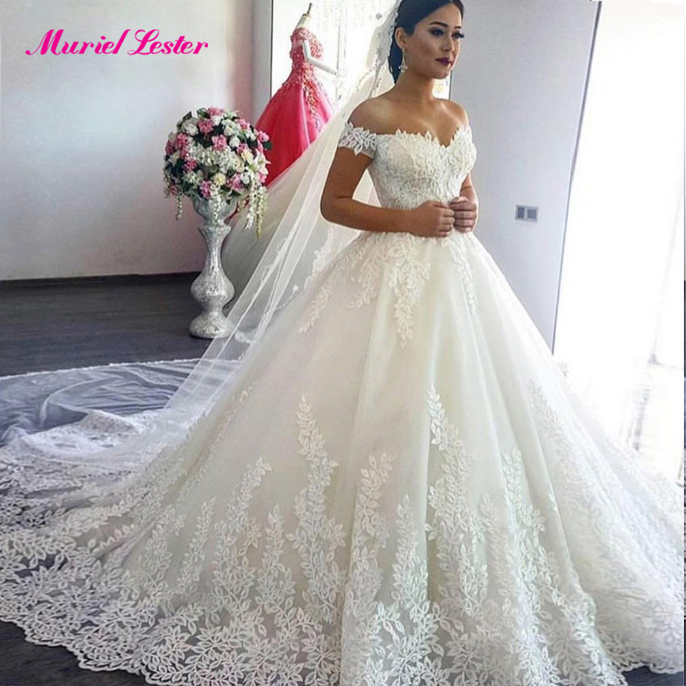 Vestidos De Novia 201 Princess Luxury Wedding Dress Off The Shoulder Applique Lace Sweetheart Puffy Ball