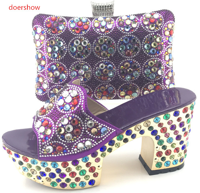 High Quality Shoes And Bag Set New African Style purple color Pumps Shoes And Matching Bag Set For Party !WI1-6  africa style pumps shoes and matching bags set fashion summer style ladies high heels slipper and bag set for party ths17 1402