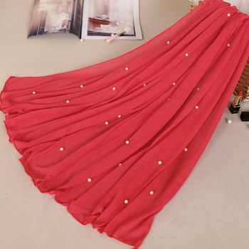 Woman Maxi Plain Pearl Beads Jersey Hijab Scarf Polyester Cotton Shawl Snood Muslim Sjaal Head
