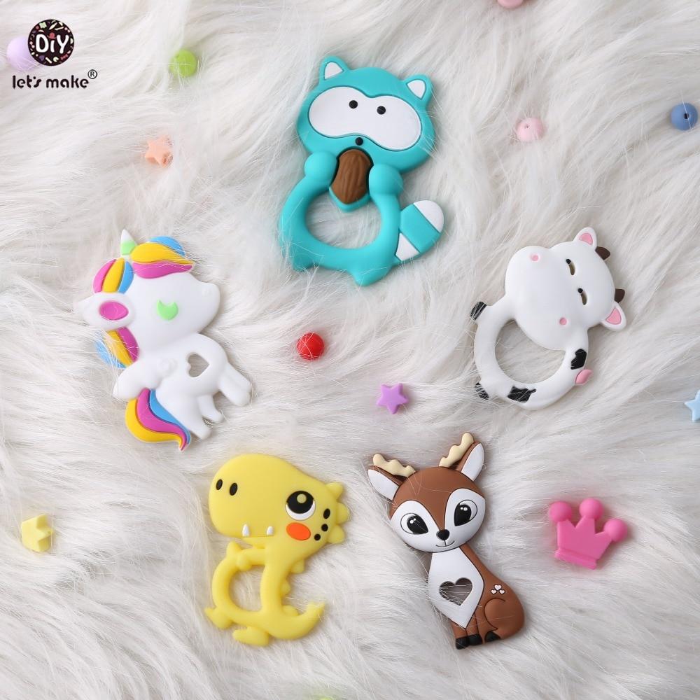 Купить с кэшбэком Let's Make Baby Teether 1pc Cartoon Heart Unicorn Fox Pendant Silicone Teether Animal DIY Pacifier Chain Necklace Teething Toys