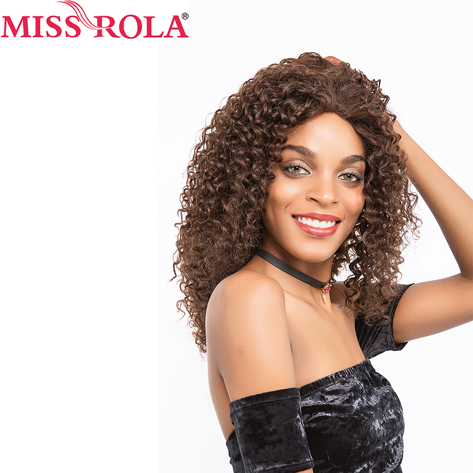 Miss Rola Hair Pre colored Brazilianlong Hair Wigs Afro Kinky Curly 2 4Color 16nch for Black