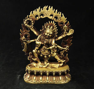 Chinese Old tibet buddhism brass 6 arms Mahakala Vajra King Kong Exorcism god buddha statue decoration BRASS factory outlets