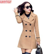 UHYTGF 2018 Autumn And Winter Wool jacket Womens clothing Medium length Woolen coats Slim Wild female student lattice jacket124(China)