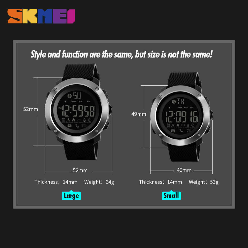 SKMEI Fashion Smart Watch Men Calories Bluetooth Watches Calories Call reminder 5Bar Waterproof Digital Watch reloj hombre 1285