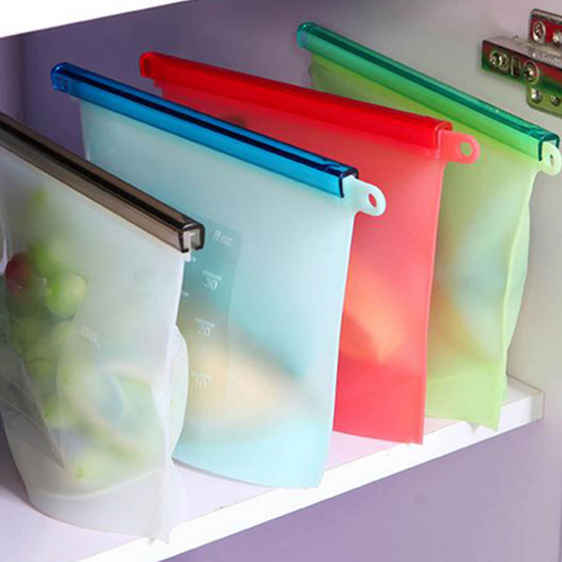 2016 NEW Reusable Vacuum Food Sealer Bags Silicone Food Storage Container Refrigerator Bag Kitchen Colored Ziplock Bags-in Storage Bags from Home u0026 Garden ... & 2016 NEW Reusable Vacuum Food Sealer Bags Silicone Food Storage ...