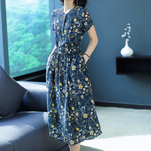 Mulberry silk Dress 2019 summer dresses woman party night plus size elegant vintage button pocket midi floral print clothing