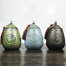 DIY Japanese Style Tea Accessories Retro Coarse Pottery TieGuanyin Tea Cans Storage Chest Tank Restoring Tea Caddy Gift Box(China)