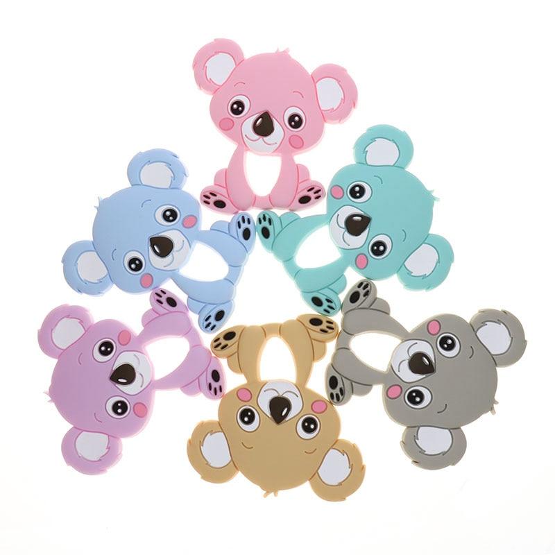 Wholesale 10pc Koala Silicone Baby Teether Animal Bear Bpa Free Newborn Teething Necklace Pendant Accessories DIY Christmas Gift