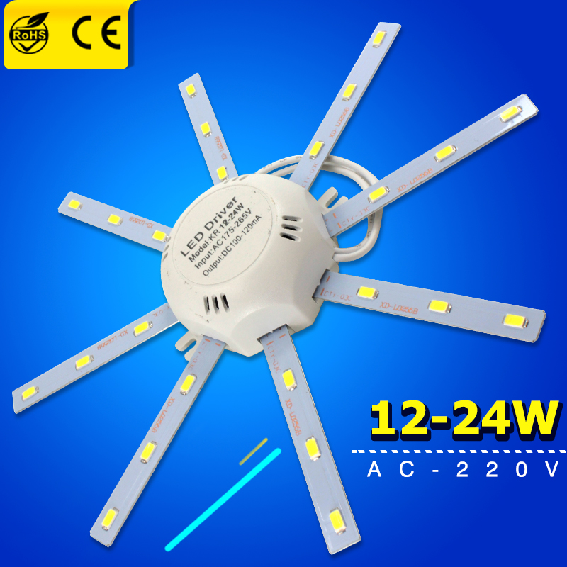 High Bright Ceiling Lamp Tube Energy Saving Lamp Plafon 12W 16W 24W 220V PCB Board Modified Light Source Led Bulb Plate Octopus