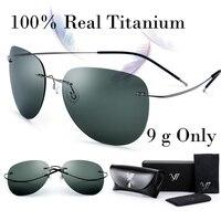 100% Real Titanium No Screw Men Male Rimless Sunglasses Women Ultralight Memory Polarized Mirror Sun Glasses Oculos Gafas De Sol
