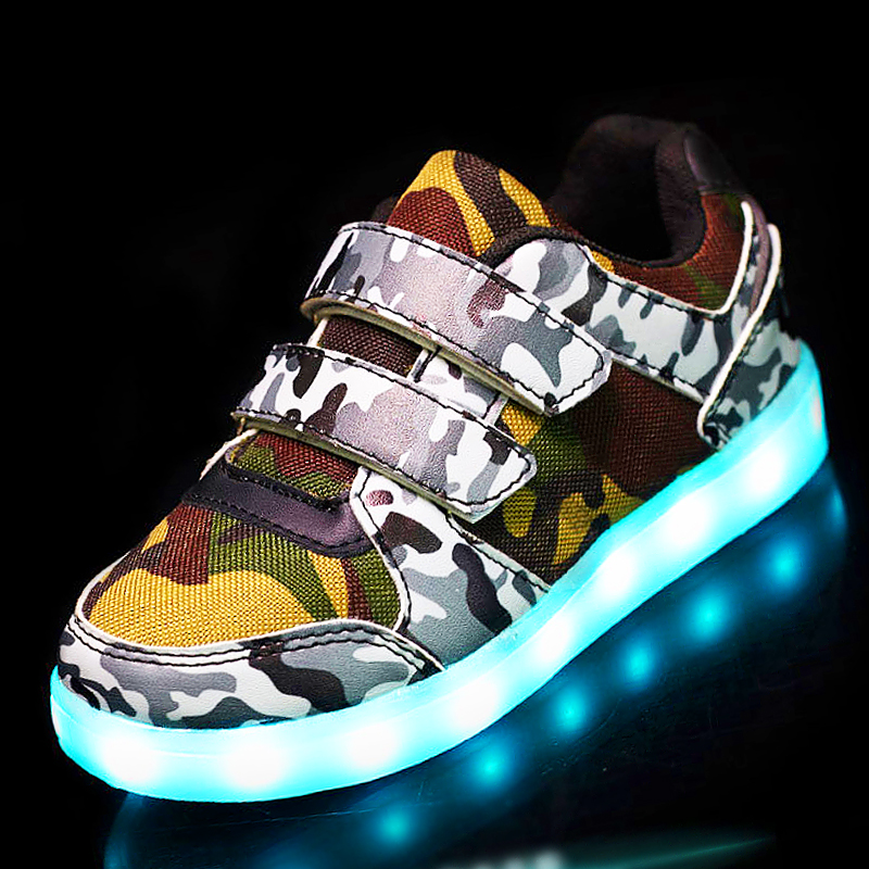 25-37 Size// USB Basket Led child Shoes With Light Up Kids Luminous Sneakers Children's Glowing Shoe enfant for Boys