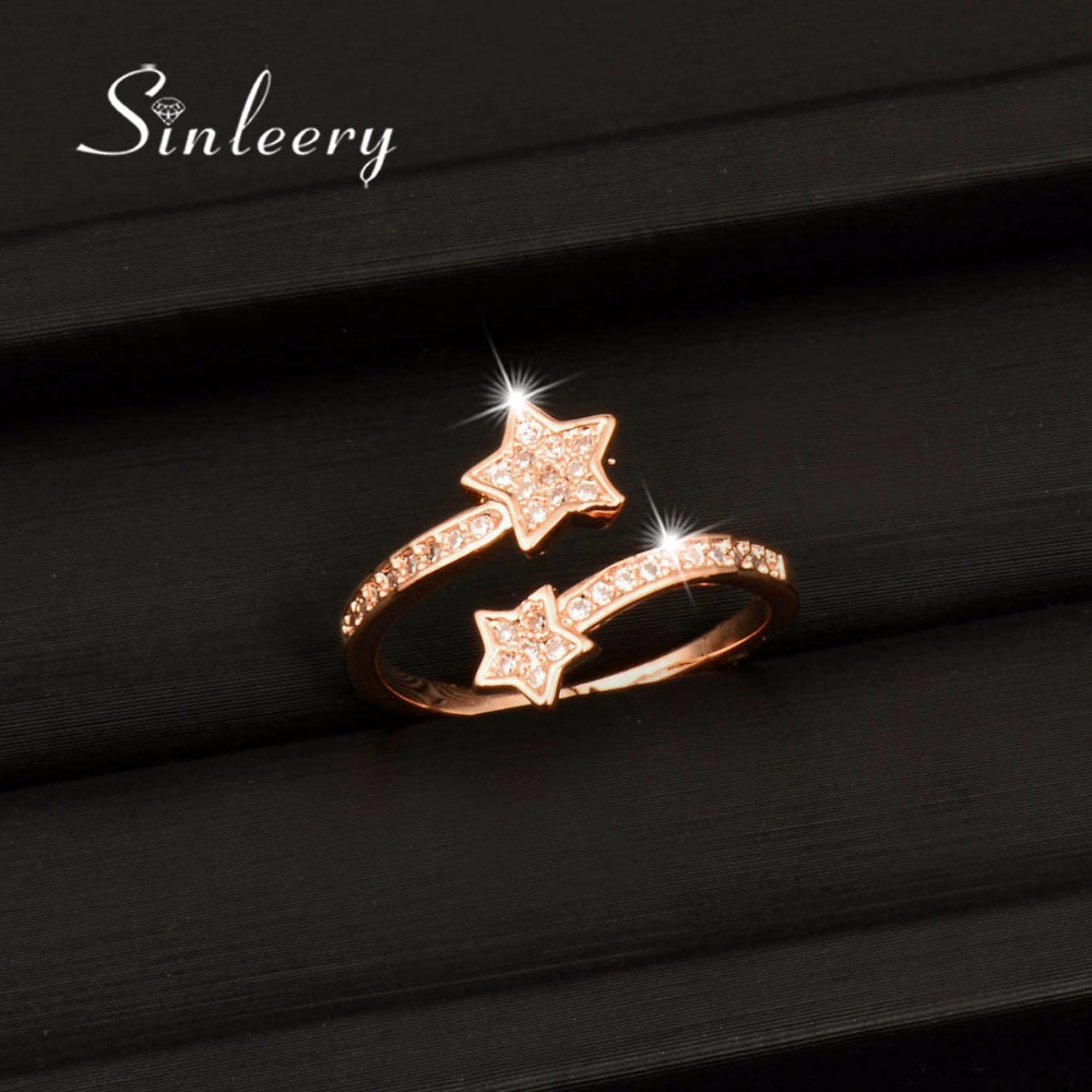 SINLEERY Dazzling Double Stars Crystal Rings Adjustable Silver /Rose Gold Color Wedding Party Jewelry For Women JZ430 SSD