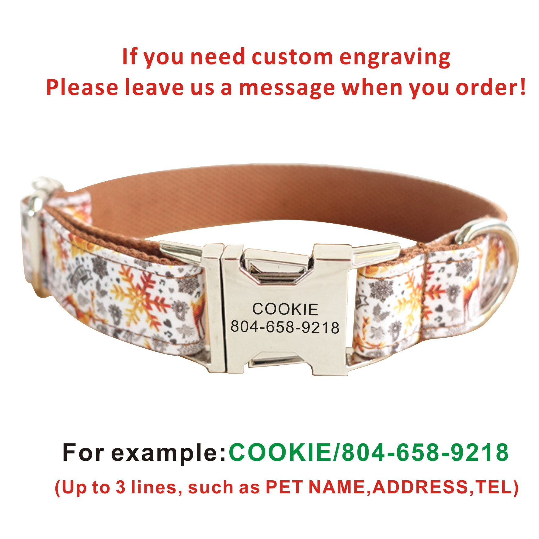 Dog Collar Personalized Nylon Snow Halloween Custom Puppy Cat Name ID Tag  Adjustable Basic Collars Lead Learsh Set Pet Accessory