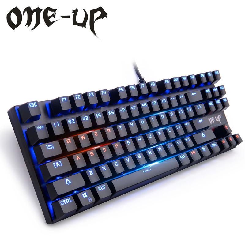Prix pour ONE-UP G300 87-Key Rétro-Éclairé Mécanique Clavier, Clicky Gaming Clavier avec Interrupteur Bleu, Anti-ghosting Touches, plein N-key Rollover
