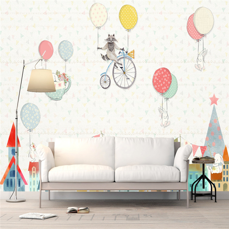 Custom 3D Photo Wallpapers Cartoon Photo Painting Murals Animals Balloon for Children Room Background Walls 3D Papers Home Decor custom large 3d wallpapers cartoon dog cat animals murals kids walls papers for children room living room home decor painting