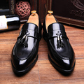 Men Casual  Leather Flat Shoes Autumn Outdoor Slip On Business Shoes Tassel Leather Shoes Patent Leather Dress Zapatillas Hombre
