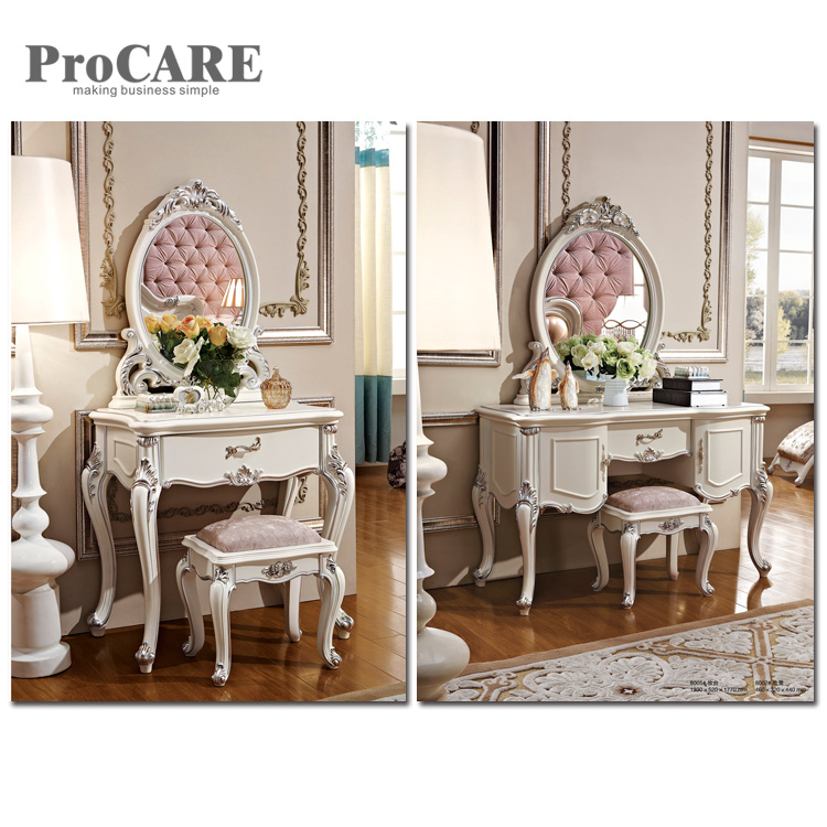 White Wooden Glass Mirrored Dressing Table with Mirror and Stool Set - 8005 ...