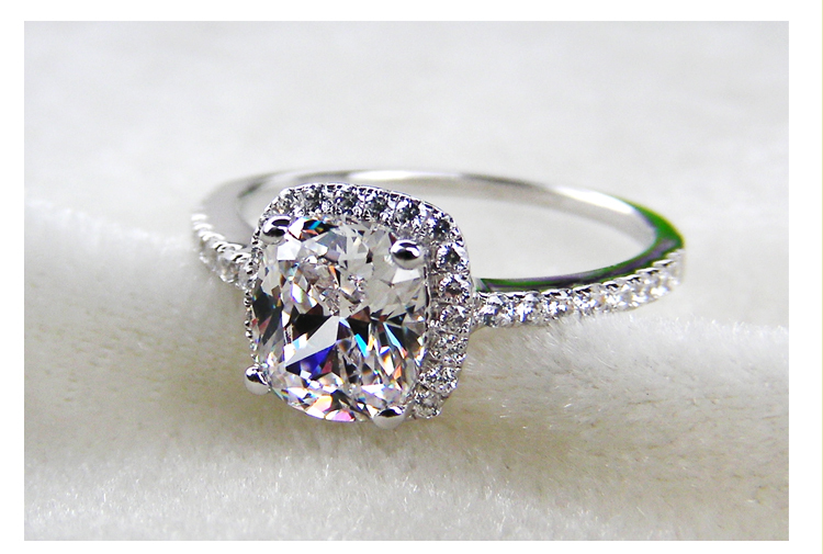 2CT Cushion Cut Engagement Rings 925 Sterling Silver Wedding Ring For Women B