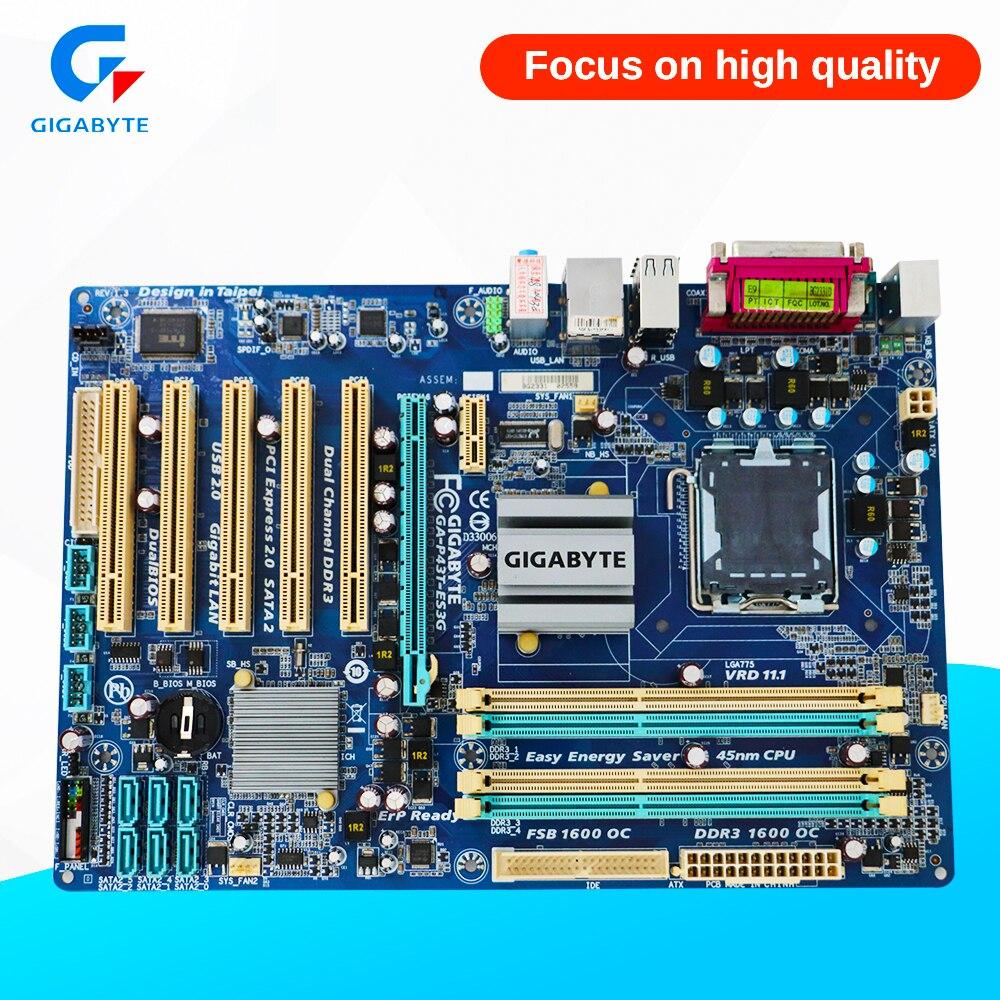 Gigabyte GA-P43T-ES3G Original Used Desktop Motherboard P43T-ES3G P43 Socket LGA 775 DDR3 ATX On Sale куплю материнскую плату socket 775 p43
