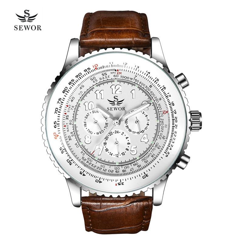 SEWOR Multifunctional Men's Watch PU Leather Watchband hours Week Calendar Display Self-wind Automatic Mechanical Wristwatch 40