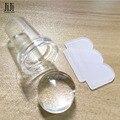 1 Sets Nuevo Diseño Puro Clear Jelly Nail Art Stamper Raspador de Silicona Transparente 2.3 cm de Uñas Sello Estampado Herramienta ND281