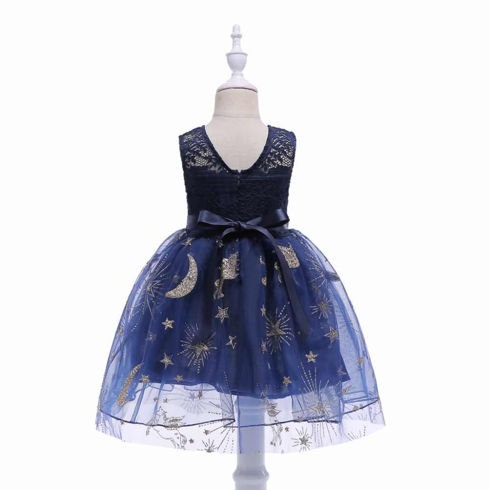 4c0f91aad ... Glitter Lace hollow girl party tutu dress children clothing princess  dress dark blue print costume baby ...