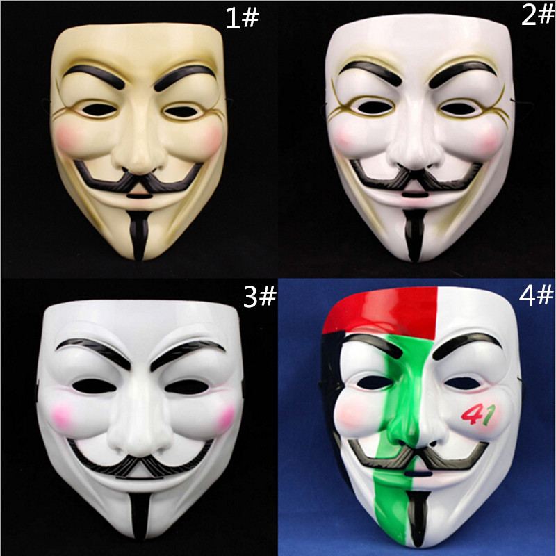 Party Masks Cosplay V-shape Face Masks Film Theme Vendetta Mask Hacker Halloween Grimace Full Face Party Masks Supplies clocks and colours nomad