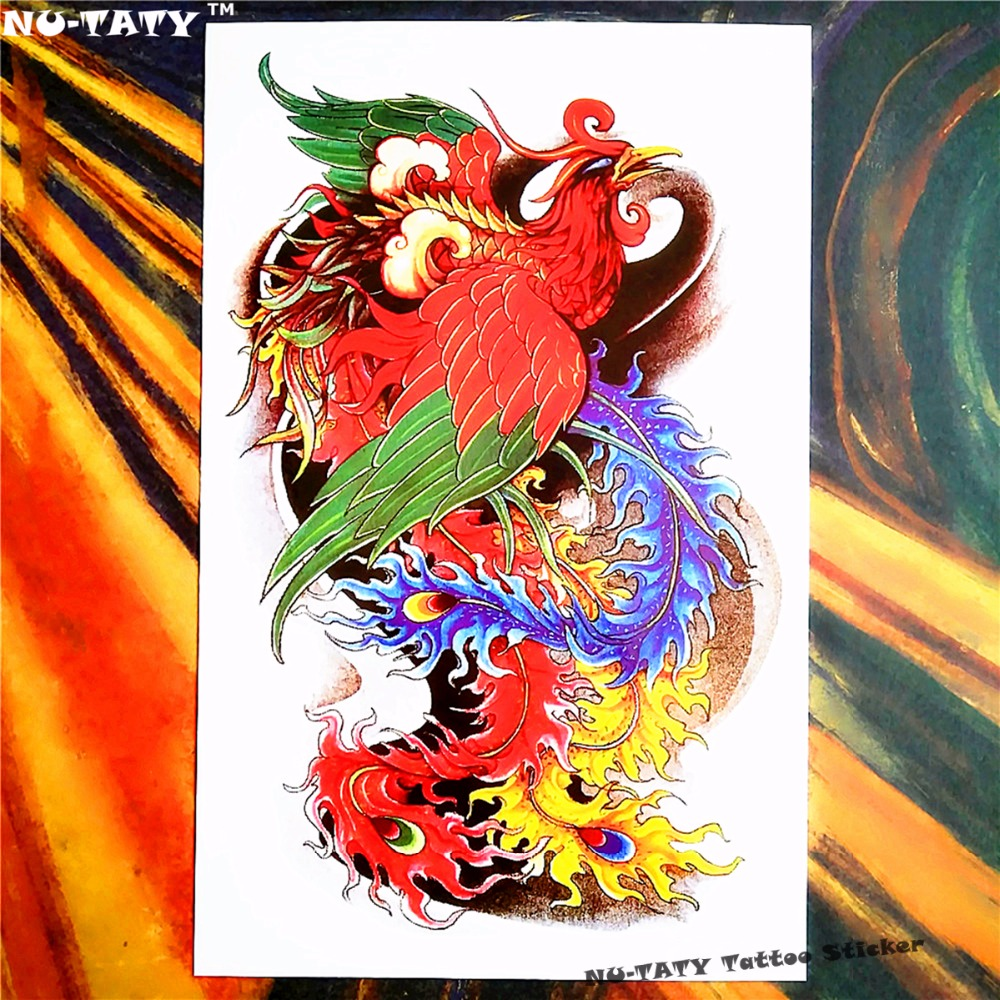Nu-TATY Hell Fire Phenix Temporary Tattoo Body Art Sleeve Arm Flash Tattoo Stickers 12*2 ...