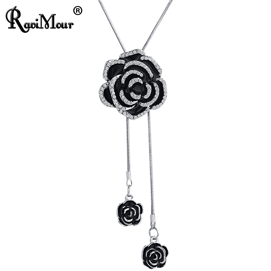 RAVIMOUR Black Rose Flower Long Necklace Women Fashion Statement Necklaces & Pendants Si ...